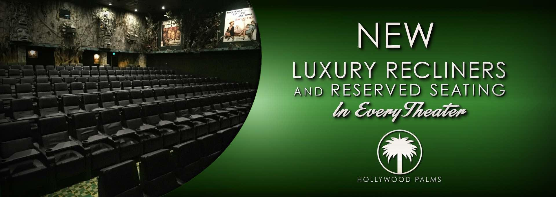 New Luxury Recliners at Hollywood Palms Cinema • Reclining Seats • Chicago • Naperville • Movies • Dining Out • Dinner • Movie • Wine • Beer
